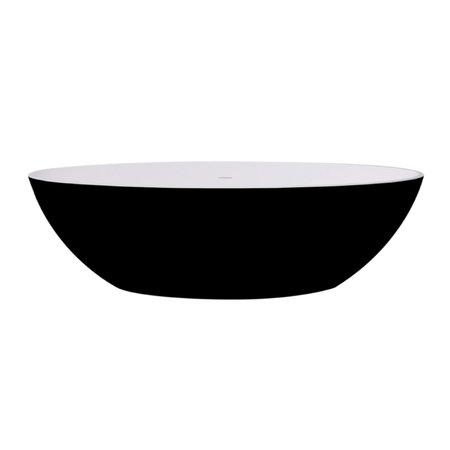 """Best-design Best-Design """"New-Stone"""" Bicolor-zwart/wit vrijstaand bad """"Just-Solid"""" 180x85x52cm"""