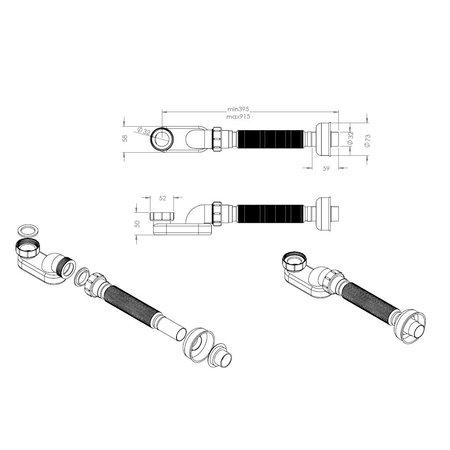 """Best-design Best-Design """"Prome"""" flexibele bad-afvoer-sifon 1 1/2"""" x 915 mm"""