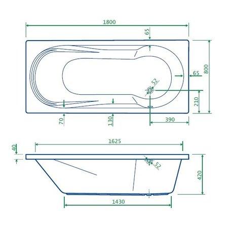 """Best-design Best-Design """"Bob"""" bad met douchegedeelte 180x80x42cm zonder poten"""