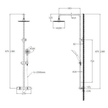 """Best-design Best-Design """"Munchen"""" RVS-304 """"Ore"""" thermostatische regendouche-opbouwset"""