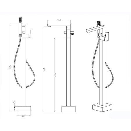 """Best-design Best-Design Nero """"Monza"""" Vrijstaande Badkraan H=93 cm Mat-Zwart"""