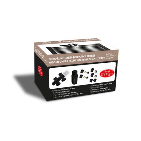 """Best-design Best-Design Nero-Luxe radiator-aansluitset """"Midden onder Recht"""" universeel Mat-Zwart (DS-BRUIN)"""