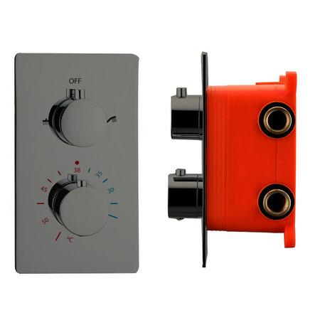 """Best-design Best-Design """"Moya"""" inbouwthermostaat & inb.box 2-weg 1/2"""" gunmetal"""