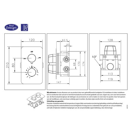 """Best-design Best-Design """"Ore-Garand"""" inbouwthermostaat & inb.box 2-weg 1/2"""" RVS-304"""