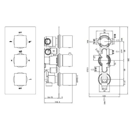 "Best-design Best-Design ""New-Napoli"" inbouw thermostaat 3 weg 1/2"" vierkante knoppen"