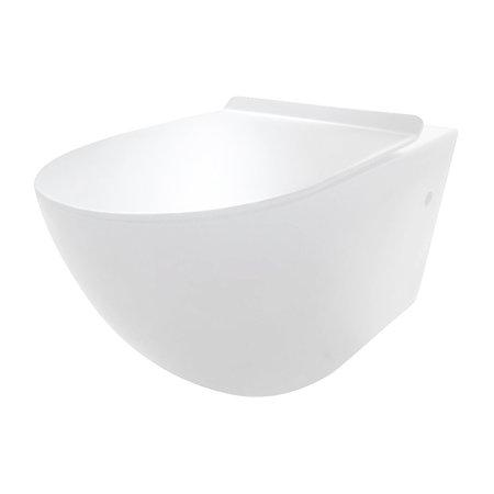 "Best-design Best-Design ""Morrano-49-Zonder-Spoelrand"" wandcloset blinde bevestiging incl.zitting mat-wit"