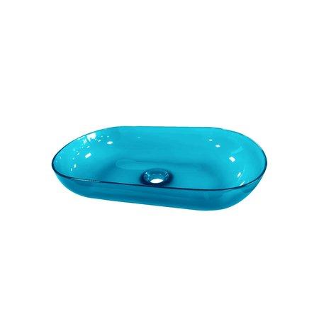 """Best-design Best-Design Opbouw-Waskom Color """"Transpa-Blue"""" 54x34x12cm"""