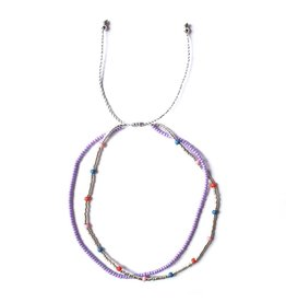 LOBIBEADS ANKLET DOUBLE SILVER/ PURPLE