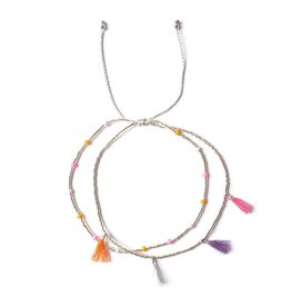 LOBIBEADS ANKLET DOUBLE SILVER