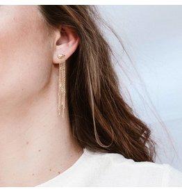 PEAFOWL EARRINGS GOLD BLUE TOPAZ