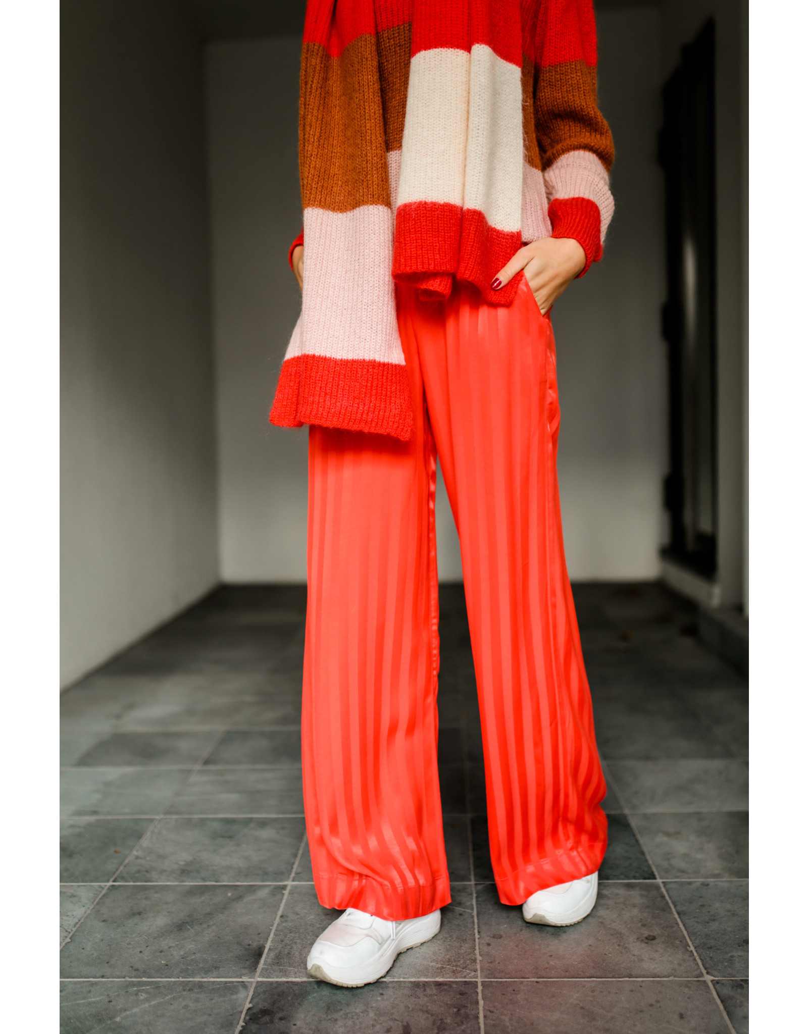 ALIX THE LABEL PANTS STRIPES SOFT CORAL