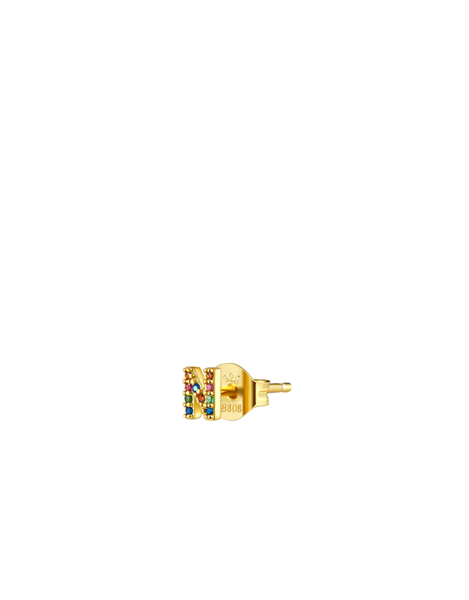 EARRING JOLIE INITIALS STRASS MULTI GOLD