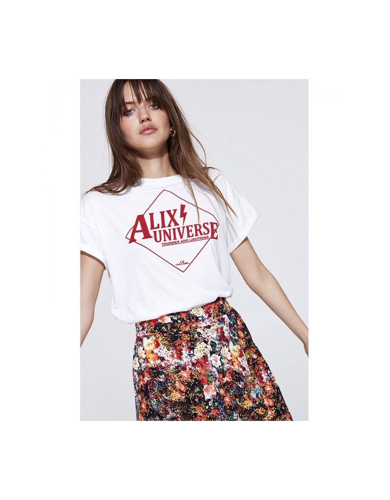 ALIX THE LABEL LADIES KNITTED ALIX UNIVERSE T-SHIRT SOFT WHITE