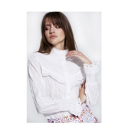 ALIX THE LABEL LADIES WOVEN BRODERIE BLOUSE SOFT WHITE