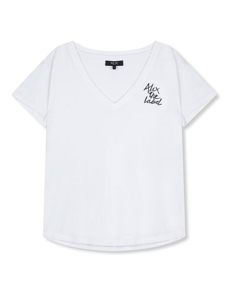 ALIX THE LABEL T-SHIRT V-NECK ALIX WHITE