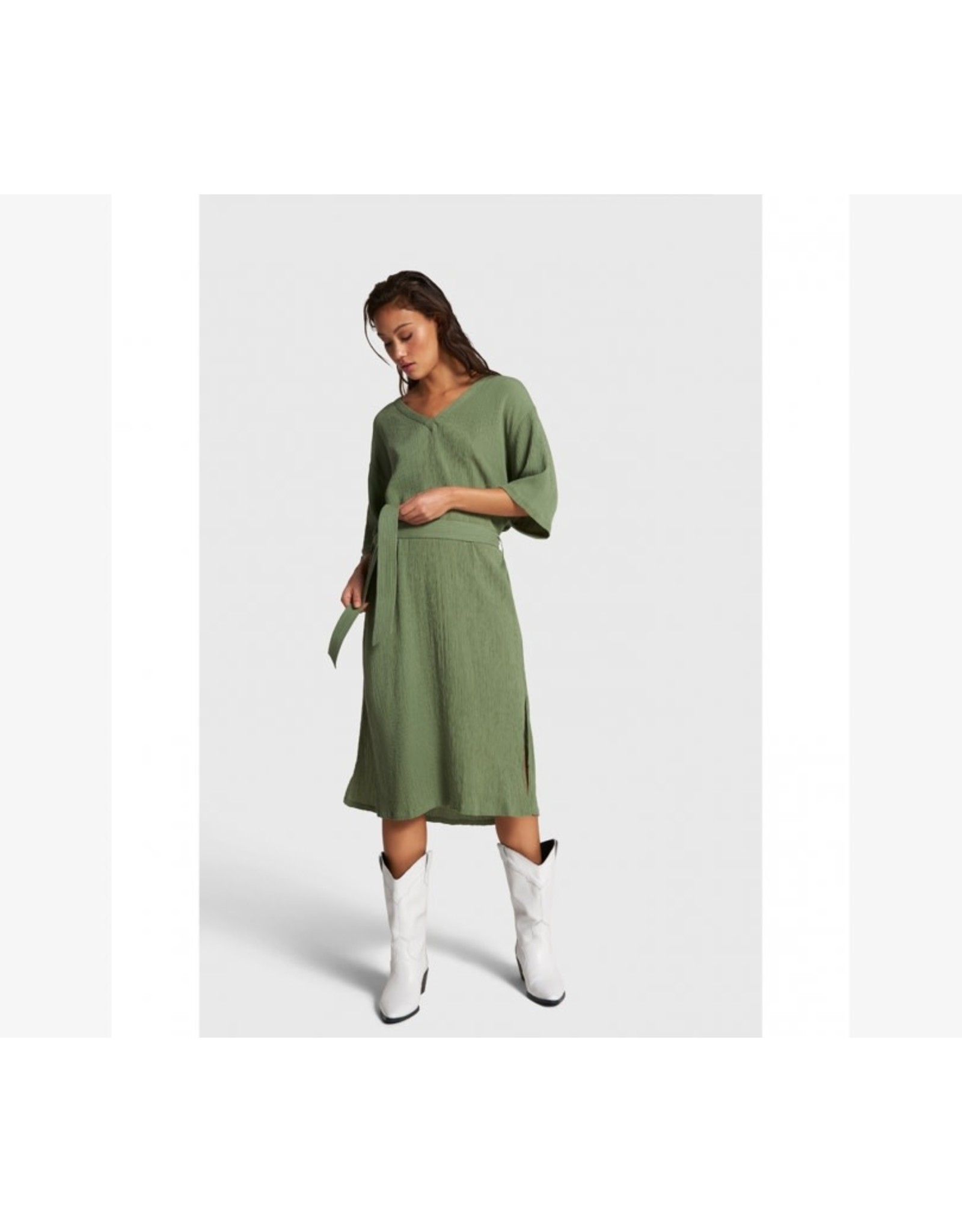 ALIX THE LABEL DRESS CRINKLE ARMY