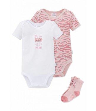Schiesser Baby Set 2 Bodys 1 Paar Socken rosé/weiss