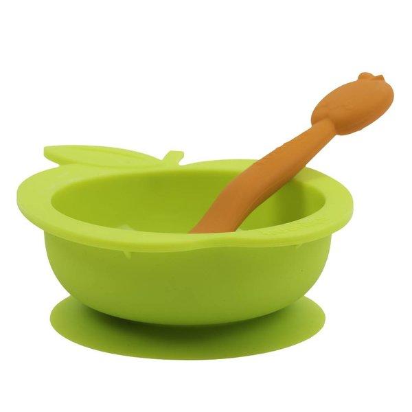 Silikonschale mit Löffel SiliBowl grün