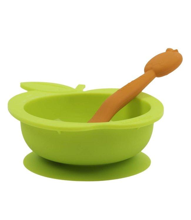 Kushies Silikonschale mit Löffel SiliBowl grün