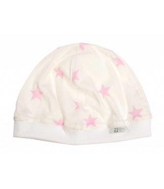 Zewi bébé-jou Baby Mütze white/rose Stars