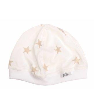 Zewi bébé-jou Baby Mütze white/beige Stars