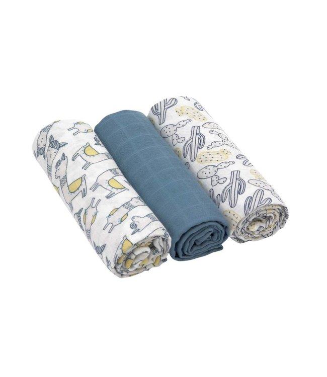 Lässig Windeltuch 3er Pack Bambus Glama Lama blue