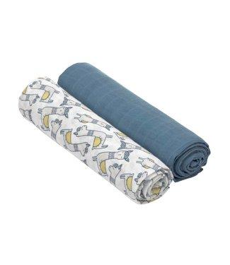 Lässig Windeltuch XL 2er Pack Bambus Glama Lama blue