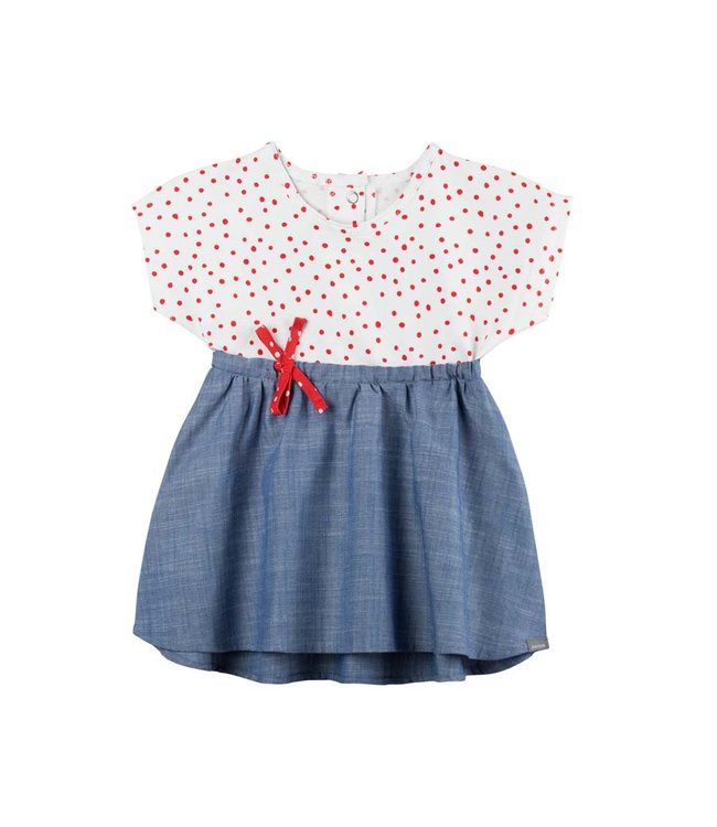 Pure Pure Baby Sommerkleid weiss-mohn Punkte