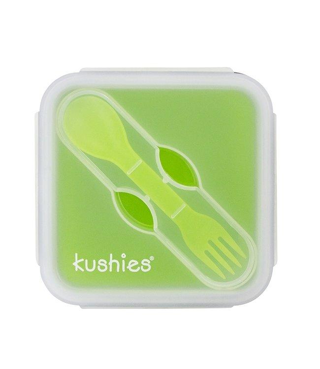 Kushies Lunchbox aus Silikon mit Löffel grün