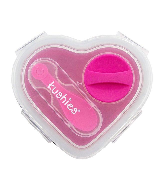 Kushies Lunchbox aus Silikon mit Löffel pink