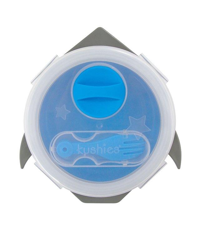 Kushies Lunchbox aus Silikon mit Löffel blau