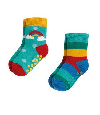 Frugi Kleinkinder Socken 2er Grippy Rainbow