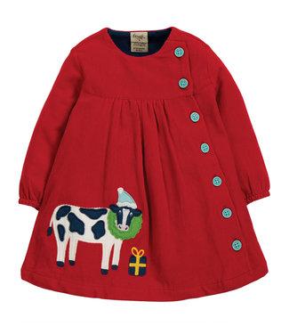Frugi Kleinkinder Kleid Bonnie Button Tango