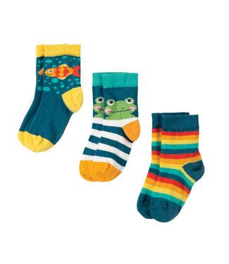 Frugi Kleinkinder Socken 3er Pack Frosch