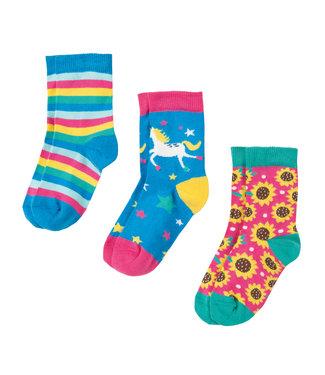 Frugi Mädchen Socken 3er Pack Einhorn