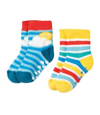Frugi Kleinkinder Socken 2er Grippy Regenbogen