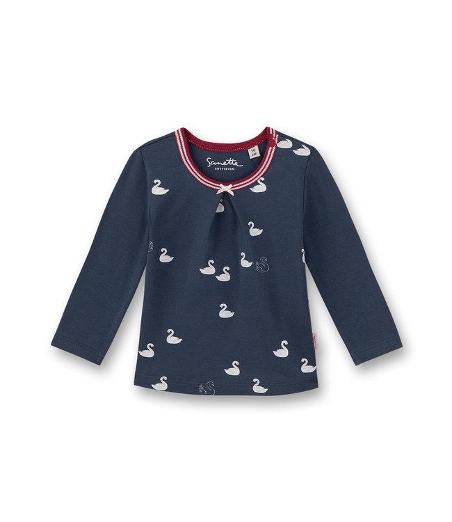 Sanetta Fiftyseven Baby Mädchen-Shirt langarm Schwan Allover