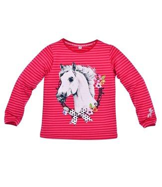 Bondi Mädchen Langarmshirt geringelt  Pferd