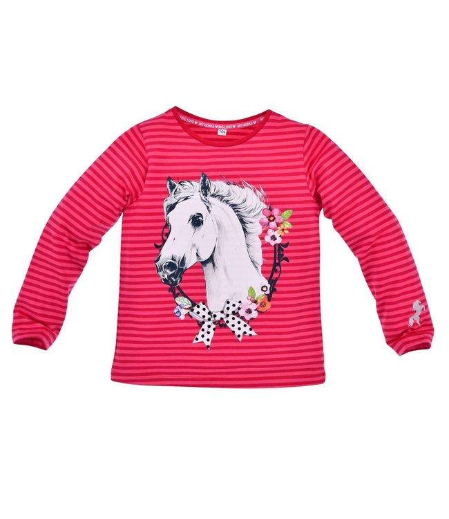 Bondi Mädchen Langarmshirt geringelt  Pferd y
