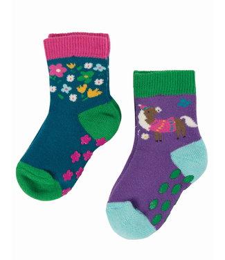 Frugi Kleinkinder Socken 2er Grippy Pferd