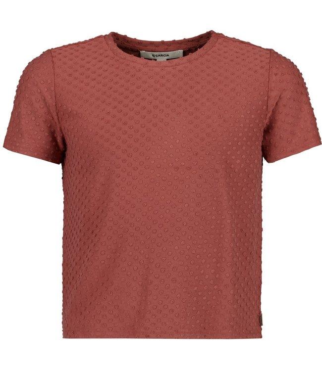 Garcia Mädchen T-Shirt Mit Punkterelief