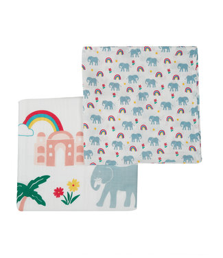 Frugi Baby Tuch 2er Pack Elefant
