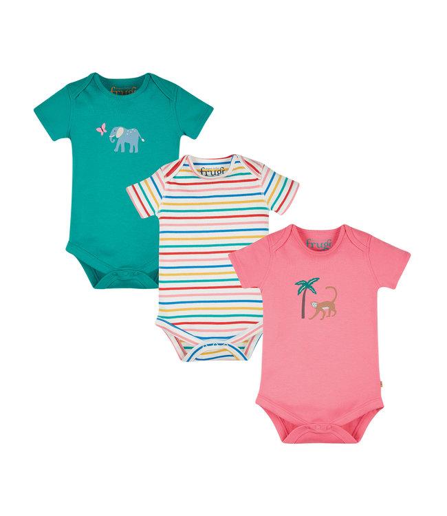 Frugi Baby Body 3er Pack Tiere