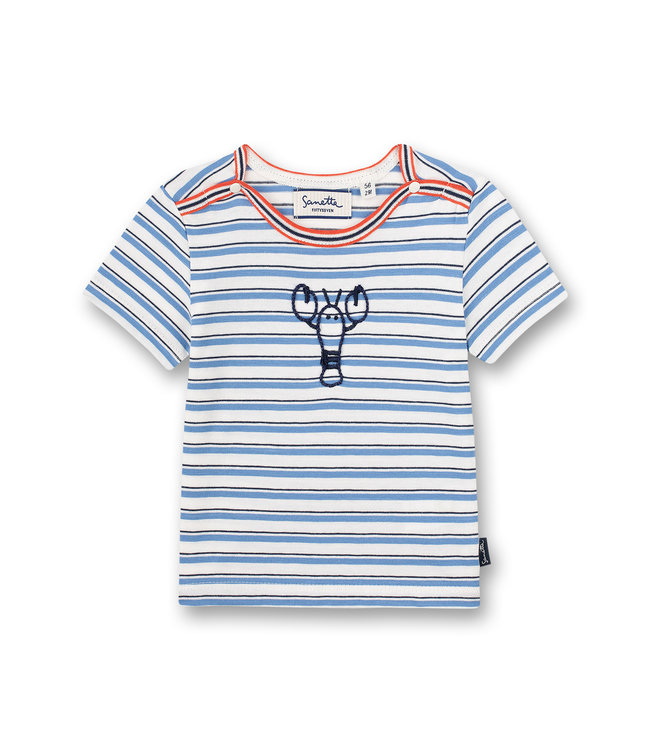 Sanetta Fiftyseven Baby Jungen T-Shirt Off-White Ringel Little Lobster