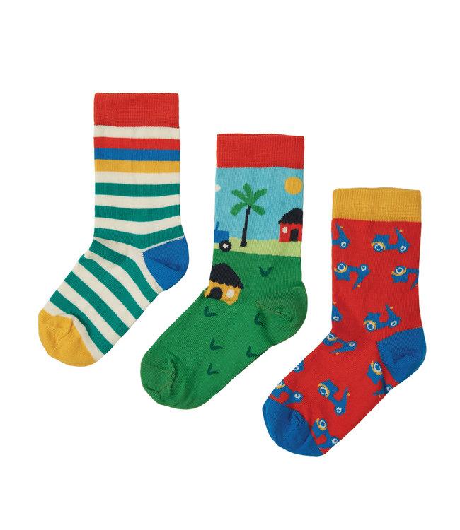 Frugi Jungen Socken 3er Pack Traktor
