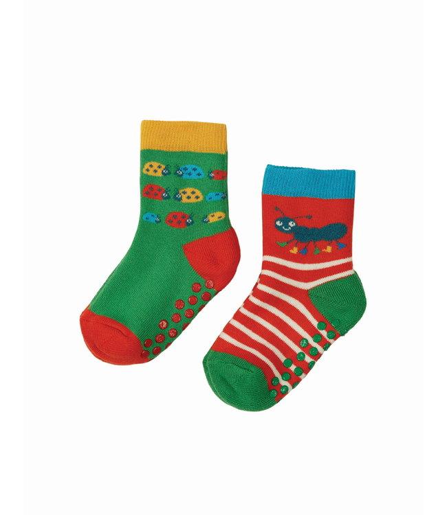 Frugi Kleinkinder Socken 2er Grippy Käfer