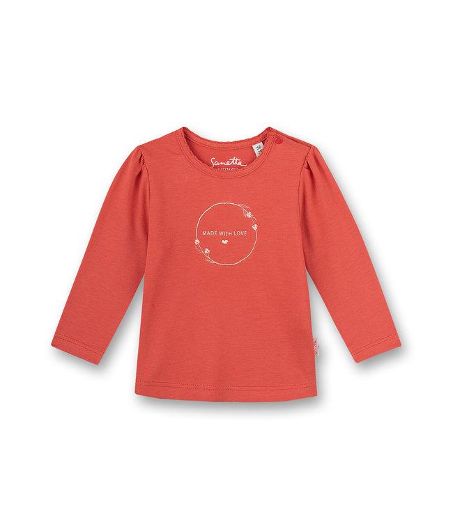 Sanetta Fiftyseven Baby Mädchen-Shirt langarm Family Stork Rot