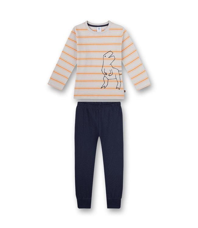 Sanetta Jungen Schlafanzug langarm Grau Gelb-geringelt Dino