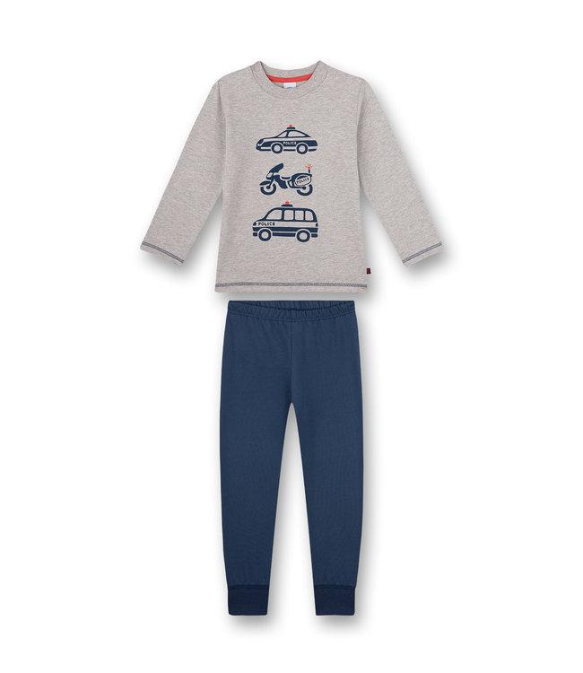 Sanetta Jungen Schlafanzug langarm Graumelange Police