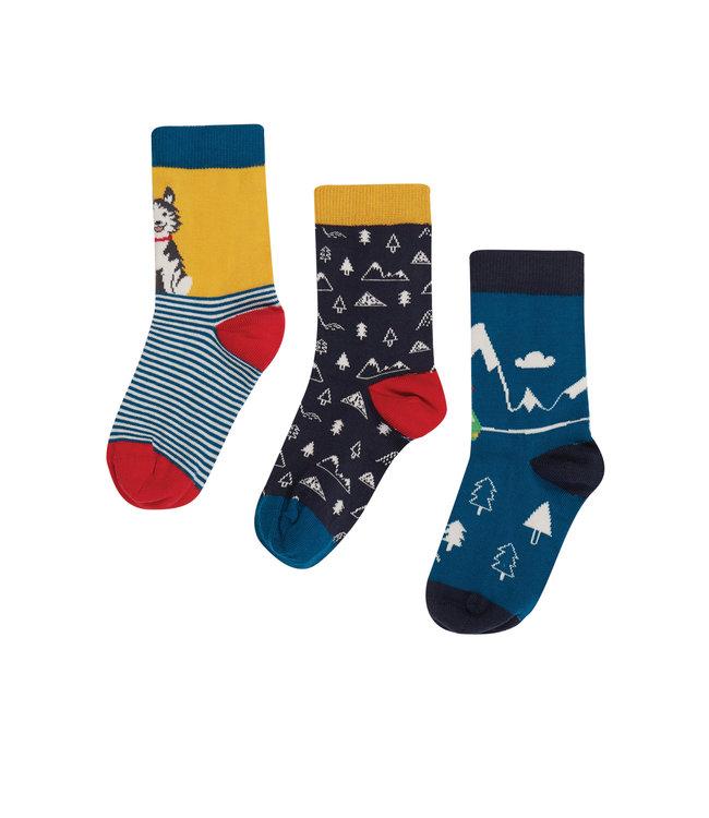 Frugi Jungen Socken 3er Pack Husky